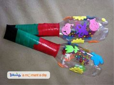 Recycled Rainbow Maracas Love this Christmas Crafts For Kids, Holiday Crafts, Quick Crafts, Kids Corner, Infant Activities, Baby Crafts, School Projects, Diy For Kids, Recycling