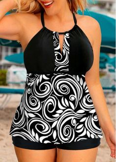 Plus Size Printed Keyhole Neckline Cross Strap Tankini Set Plus Size Tankini, Women's Plus Size Swimwear, Plus Size Casual, Plus Size Outfits, Plus Size Kleidung, Bra Styles, Bikini, Plus Size Fashion, Cute Outfits