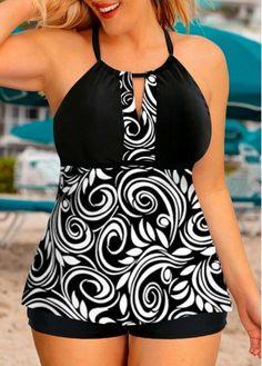 Plus Size Printed Keyhole Neckline Cross Strap Tankini Set Plus Size Tankini, Women's Plus Size Swimwear, Bikini, Swim Dress, Bra Styles, Plus Size Tops, Plus Size Outfits, Plus Size Fashion, Fashion Outfits