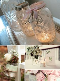 mason jars with lace