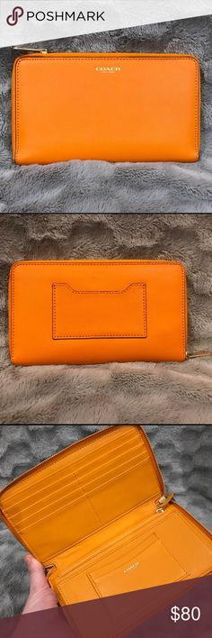 Coach saffiano leather continental wallet Coach zip-around saffiano leather continental wallet in sunny, orange/yellow color. Barely used and in excellent condition. Smoke free home. Coach Bags Wallets