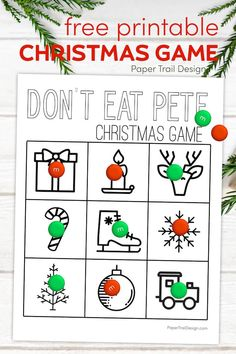 Christmas themed Don't Eat Pete game for a fun and easy Christmas game to play with the kids. Don't Eat Pete printable in black and white to save ink. #papertraildesign #donteatpete #Christmas #Christmasgame