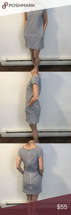 Madewell Black and White Striped Midi Dress Madewell Dress black and white striped dress super cute and size extra small Madewell Dresses