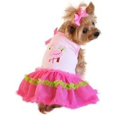 Frilly and fun, your dog will be the fashion forward pup at the pawty this summer in her new Pink Flamingo and Palm Tree Ruffled Tutu Dog Tank Dress! This tank features an embroidered flamingo and pal