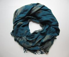 Hand-dyed, Up-cycled Teal Green and Gray Pashmina Scarf Shawl Wrap Unisex scarf, Fall scarf, 2013 fall scarf