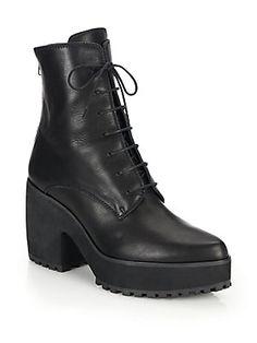 LD Tuttle Arrow Leather Lace-Up Platform Boots