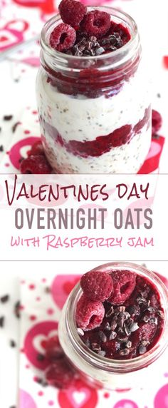 Delicious Valentines Day-overnight-oats-with-raspberry-jam-and-cacoa-nibs. - Delicious Valentines Day-overnight-oats-with-raspberry-jam-and-cacoa-nibs.-Show-how-much-you-care-wi - Valentines Day Food, Valentine Day Recipes Healthy, Overnight Oatmeal, Raspberry Overnight Oats, Overnight Oats With Yogurt, Overnight Breakfast, Oatmeal Recipes, Holiday Recipes, Breakfast Recipes