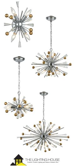 This starburst-styled of the Williston by Elk Lighting features metal spikes combined with square clear crystal and metallic spheres. Finished in Polished Chrome with Satin Brass spheres. Entry Lighting, Lighting Showroom, Elk Lighting, Dining Room Lighting, Island Lighting, Bedroom Lighting, Home Lighting, Pendant Lighting, Chandelier