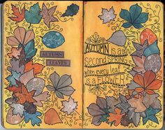 Autumn leaves journal page