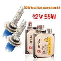 1 set H7 xenon HID kit 55W for car headlight H1 H3 H4 H8 H9 H11 9005 HB3 9006 HB4 881 H27 lamp 6000K Xenon bulb