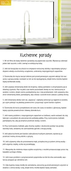 porady-kuchenne Life Guide, Brain Dump, Home Hacks, Kitchen Hacks, Good Advice, Home Organization, Good To Know, Cleaning Hacks, Health And Beauty