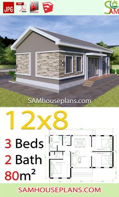 House Plans with 3 Bedrooms Gable roof - Sam House Plans Modern Bungalow House Design, House Floor Design, Home Design Floor Plans, Small House Design, Beautiful House Plans, Dream House Plans, Small House Plans, Casa Top, Bungalow Floor Plans