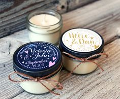Colors and fonts can be changed to suit! Personalized soy candles are a wonderful way to say thank you to your guests. All candles are