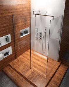 układ drewnopodobnych kafelek | Kabina Comfort Walk-in Rea 140x90
