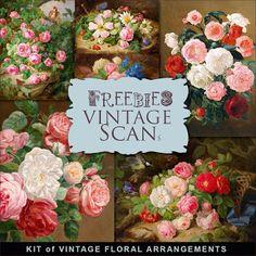 Freebies Kit of Vintage Illustrations - Floral Arrangements