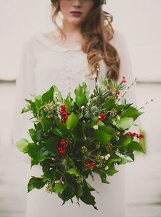green red foliage wedding flowers bouquet, image by Paula O'Hara