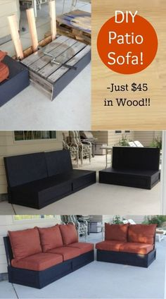 I have been wanting patio furniture, comfy-solid-indestructible-to-kids-furniture, on my back porch for a while now and just couldn't find any that fit that criteria…. that also fit in my budget. So I winged it and it turned out Awesome! See tutorial now ------> http://www.discountqueens.com/diy-patio-furniture-sofa-loveseat-pallets/