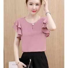 Women's Going out Cotton Blouse - Solid Colored Fashion Now, Fashion Tips For Women, Fashion Outfits, Womens Fashion, Fashion Ideas, Blouse Styles, Blouse Designs, Affordable Clothes, Affordable Fashion