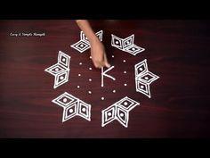 Simple Rangoli Design with Dots Indian Rangoli Designs, Rangoli Designs Latest, Rangoli Designs Flower, Rangoli Patterns, Small Rangoli Design, Rangoli Designs With Dots, Flower Rangoli, Rangoli With Dots, Beautiful Rangoli Designs