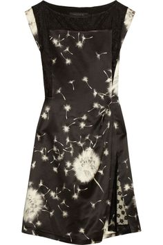 Thakoon Dandelion-print wool-blend satin dress