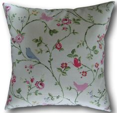 Designer Cushion Covers made with Clarke & Clarke Bird Trail Chintz Pink Pillows Pink Cushions, Pink Throw Pillows, Velvet Cushions, Scatter Cushions, Throw Pillow Cases, Cushion Covers Uk, Cushion Cover Designs, Clarke And Clarke Fabric