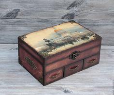 """Купить Шкатулка для украшений """"Петербург"""" - коричневый, шкатулка, шкатулка для украшений, шкатулка декупаж, шкатулка деревянная"""