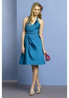 Romantic blue Silky Taffeta Halter Tea-Length short bridesmaid dress
