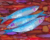 """Sardines  - a still life in alcohol ink - 8 1/4"""" x 11 3/4"""""""
