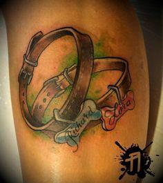custom dog collar tattoo by ArturNakolet on DeviantArt Neue Tattoos, Dog Tattoos, Cat Tattoo, Animal Tattoos, Body Art Tattoos, Print Tattoos, Tatoos, Music Tattoos, Lion Tattoo