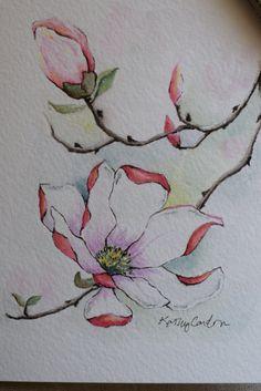 Pink Magnolia acuarela tarjeta originales sólo por SunsetPeonies