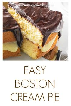 Boston Cream Pie is a special dessert made easier with one shortcut. The pastry cream & the ganache are homemade from pure ingredients. Best Dessert Recipes, Cupcake Recipes, Fun Desserts, Sweet Recipes, Cupcake Cakes, Southern Recipes, Holiday Recipes, Yummy Recipes, Healthy Recipes