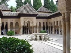 Court of Lions at Alhambra Palace in Granada, Spain