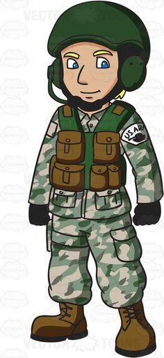 A US Army Tank Operator #cartoon #clipart #vector #vectortoons #stockimage #stockart #art