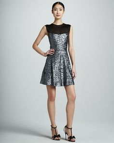NWT Nicole Miller Silver Swirly Sequins Sheer Illusion Cocktail Dress 8 $365 #NicoleMiller #FitFlare #Cocktail