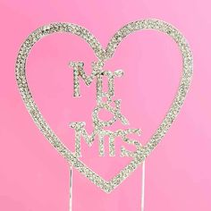 Sparkly heart-shaped wedding cake topper with Mr & Mrs detailing inside. Heart Shaped Wedding Cakes, Cake Shapes, Wedding Cake Toppers, Wedding Attire, Heart Shapes
