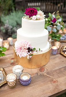 Two-Tiered Wedding Cake with Pink Flowers   Wedding Cake
