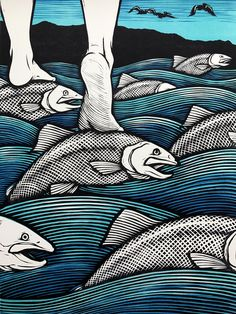 Cross the River on the Backs of the Salmon / 3 color #woodcut