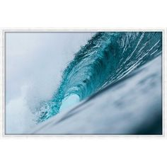 Highland Dunes 'Turquoise Wave' Framed Photographic Print on Canvas, Canvas and Fabric in Blue/White, Size Medium 25