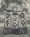 1920 photo, a woman dressed as the personification of Renaissance Spirit at the celebration of Pennsylvania College for Women's fiftieth anniversary