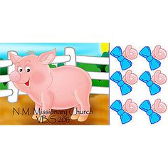 Pin the tail on the pig game features a cute pink piggy in her pen