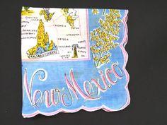 Vintage New Mexico Handkerchief Hanky Hankie New Mexico State Souvenir Map EUC #Unbranded #StateSouvenir #Everyday