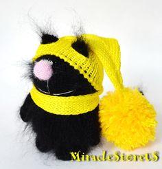 BLACK CAT  AMIGURUMI Christmas Cat  Knit Mohair by MiracleStoreUS