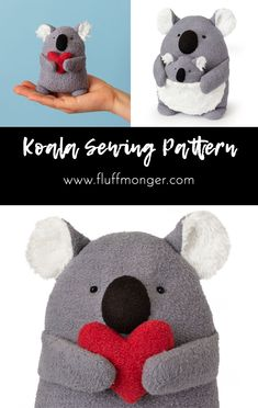 Valentine's Day Gifts : Koala PDF Sewing Pattern and Tutorial —Proceeds Support Australian Wildlife—Step-by-Step Instructions with Photos - Do It Yourself : Explore & Discover the best and the most trending DIY inspirations Sewing Hacks, Sewing Tutorials, Sewing Tips, Video Tutorials, Valentines Diy, Valentine Day Gifts, Amigurumi Giraffe, Fabric Crafts, Sewing Crafts