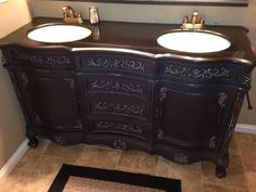 Refinished with Ann Sloan chalk paint. I added 3 jars of India ink to Ann Sloan's graphite to make black chalk paint :) it came out beautiful!