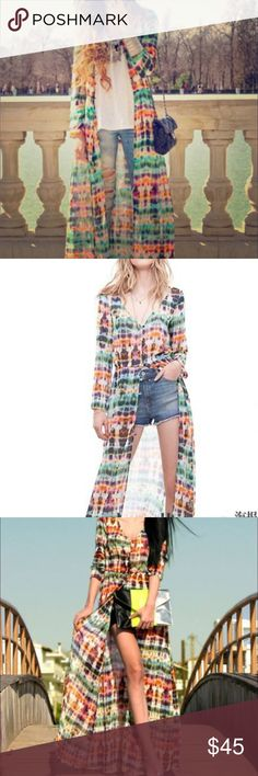 Women's fashion long chiffon blouse cardigans Sheer patterned duster/long top! Perf for beach wear, daytime wear w leggings, Body suit, shorts tee &top id pair w gladiators!  order size up. Need 2 wks for pre sale shipping . Available now lace girl by Folie  Tops Tunics