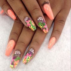Beautiful for Vacation in Hawaii! Tropical flower accent and bling, bright color polish.