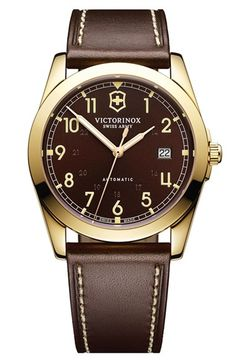 Victorinox Swiss Army® 'Infantry' Automatic Leather Strap Watch, 40mm | Nordstrom