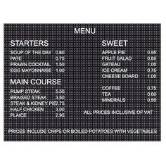 Buy a peg letter board for your menu displays. This extra-large quality board includes 692 characters. Peg Board Letters, Framed Letters, Cafe Menu Boards, Price Board, Pegboard Display, Coffee Shop Menu, Fish And Chip Shop, Rule Of Three, Diys