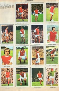 Arsenal team stickers for Retro Football, Football Soccer, Arsenal Fc, Arsenal Football, Charlie George, George Armstrong, Old Boys, World History, 1970s
