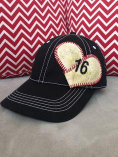Baseball Mom Hat w/permanent Baseball by ZackandJacksBoutique, $25.00
